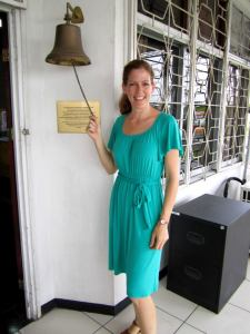 Ringing the bell to end my service with Peace Corps